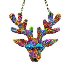 Modern deer, Deer Wall Decor, Deer art, Deer wall hanging, Deer Decoration, Deer wall decoration, Deer wall art,Deer wall art, Sculpture  Welcome to my Etsy shop Israel online shop https://www.etsy.com/shop/MIRAKRIS  Colorful and happy Original design handmade made with polymer clay with Millefiori technique Wall hanging, wall art Will make a great gift for your Hosts, valentines, weddings, birthdays or buy it for yourself as a special home decor size 5.5 :(14 cm ) widht 4...