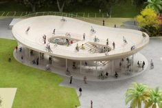 NL Architects are building a bicycle club for housing corporation VANKE in Southern China, which accommodates bike rental and a café. Plans for the pavilion include a distinctive protruding roof with elegant curves that mimics the shape of a traditional pagoda. While the café would be situated below, the upper level provides a cycling track so visitors can ride around the oversized top