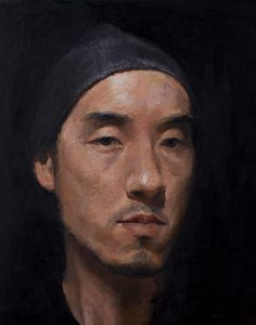 SeongJin Kim - self portrait. tried layered painting with texture. it looks dried, formal painting.  but it would be my base. at least i learned how to paint 'days', not 'a day' with one work. — with BokawArt Seebo.