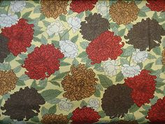 Cotton Fabric Moda Simple Abundance Floral Gold Brown Red Quilt Craft Sewing