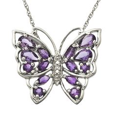 Amethyst and Diamond Accent Butterfly Pendant in Sterling Silver
