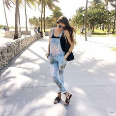 Get this look: http://lb.nu/look/8571581  More looks by Gabrielle L.: http://lb.nu/eastcoastboho  Items in this look:  Forever 21 Overalls Custom Painted, Lucky Brand Wrap Sandals   #bohemian #casual #street