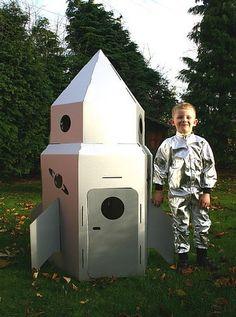Cardboard Rocket To The Moon by Green Rabbit. Cardboard Spaceship, Spaceship Craft, Cardboard Rocket, Cardboard Crafts, Cardboard Kids House, Summer Activities For Kids, Summer Kids, Rocket Ship Craft, Rocket Ships
