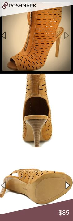 "Peep-toe Bootie Tan Width B(M) Leather Upper Material Man-Made Outsole Material Open-Toe Toe Type 4.25"" Heel Height 3.5"" Shaft Height 9"" Circumference Vince Camuto Shoes Ankle Boots & Booties"