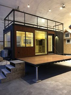 This is the new Vista C Shipping Container Tiny House from ESCAPE. It's built using a standard ISO shipping container so it can be shipped anywhere or it can be attached to a special tra… Container Home Designs, Container Cabin, Container House Plans, Container Houses, Tiny House Builders, Tiny House Plans, Tiny House Design, Container Buildings, Container Architecture