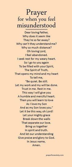 Prayer for when you feel misunderstood.