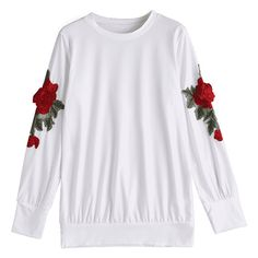 Loose Floral Embroidered Patches Sweatshirt (545 UYU) ❤ liked on Polyvore featuring tops, hoodies, sweatshirts, white sweatshirt, loose tops, cut loose tops, loose fit tops and loose fitting tops
