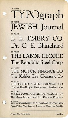 Goudy Old Style type specimen