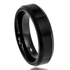6MM Men's Women Wedding Engagement Anniversary Band Cobalt Ring Black Enamel Plated Stepped Edge Hammered Finish Center Size 6-12 1/2 Sizes
