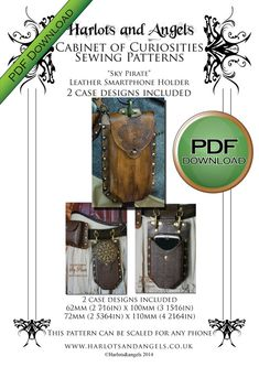 Pdf Leather Smart Phone Holder PATTERN. DGITAL DOWNLOAD soft leather/ fabric or veg tan Leather by Harlotsandangels 4.95 USDThis is a pattern for a phone c
