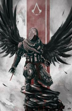 One of the most well known and popular game assassins creed. Ezio one of the main characters in the assassins creed game series is featured on this image. Arte Assassins Creed, Assassins Creed Tattoo, Drawn Art, Templer, Dark Angels, Video Game Art, Dark Fantasy, Final Fantasy, Fantasy Characters