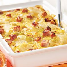 Ham and Creamy Potato Scallops Recipe -Everyone loves these scalloped potatoes. This dish is my own creation - it's a combination of three different recipes! Besides tasting good, this dish is foolproof to make, and the ingredients won't separate during baking.