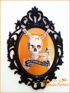 "I like the ""happy haunting"" mini banner across the top of this as well! Halloween Magic, Halloween Signs, Halloween Town, Holidays Halloween, Halloween Themes, Halloween Crafts, Holiday Crafts, Holiday Fun, Happy Halloween"