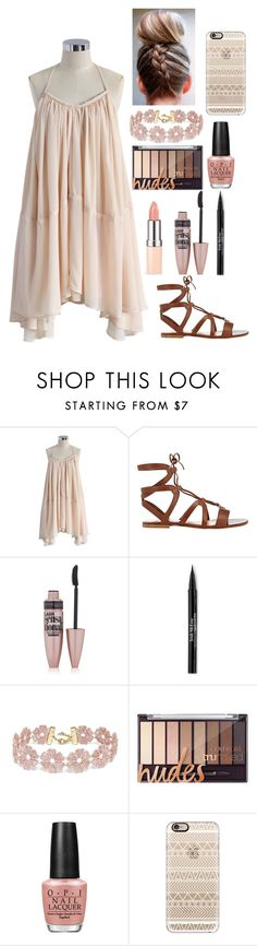 """""""Nude Colors"""" by aldowney3 ❤ liked on Polyvore featuring Chicwish, Gianvito Rossi, Maybelline, Trish McEvoy, BaubleBar, OPI and Casetify"""