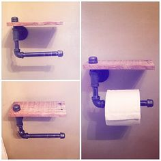 Industrial pipe & pallet wood toilet paper holder I made today! #palletwood…