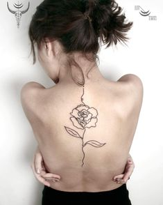 Linework rose blackwork flower tattoo.  Blackwork flower tattoos are mysterious, dark and sexy.We have found the most stunning ones recently made and you are going to love them!