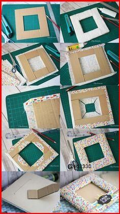 Diy Crafts Hacks, Diy Crafts For Gifts, Diy Arts And Crafts, Craft Stick Crafts, Creative Crafts, Kids Crafts, Diy Photo Frame Cardboard, Picture Frame Crafts, Cardboard Crafts