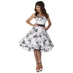 White and Black Floral Evening Party Prom Dress – Pretty Kitty Fashion