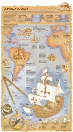 100 print infographics that summarize 2014 - part 2 - Visualoop Old World Maps, Old Maps, Vintage World Maps, Spanish Lessons, Learning Spanish, World History, Art History, Comic Foto, Spanish Heritage