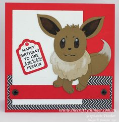 Stampin Up, #thecraftythinker.com.au, Punch art Pokemon, Eevee, boy birthday card