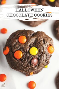 These Halloween Chocolate Cookies are soft, fudgy, and mixed with Reese's Pieces peanut butter candies. They're made with cocoa powder and are gluten free! Desserts For A Crowd, Winter Desserts, Great Desserts, Party Desserts, Delicious Desserts, Party Recipes, Hot Chocolate Fudge, Chocolate Cookies, Chocolate Recipes