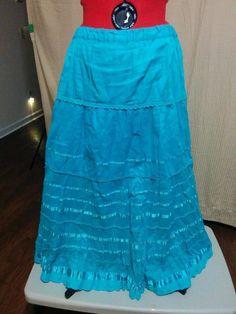 20% OFF! BUY IT NOW! Bright Blue Hippie Peasant Skirt Rafaella Size XL 100% Cotton Full Sweep    eBay