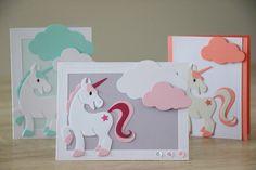 Il y a de la Magie dans l'Air ! Faire-parts de naissance, invitation à un baptême Licornes et Nuages Unicorn Birthday Cards, Marianne Design Cards, Little Ones, Origami, Card Making, Greeting Cards, Paper Crafts, Big Shot, Frame