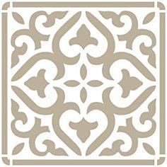 Todo-Stencil Iberia 04 Pochoir mural carré 12 x 12 cm--- Stencil Patterns, Stencil Designs, Wood Floor Pattern, Stencil Printing, Ornaments Design, Decorative Panels, Dollar Store Crafts, Corner Designs, Ceramic Painting