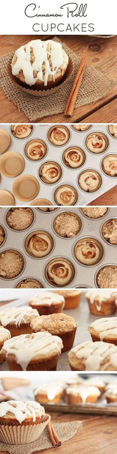 Cinnamon Roll Cupcakes. [Audrey] used greek yogurt instead of buttermilk, and used Great Harvest Bread Co vanilla honey butter for the sprinkling on top.