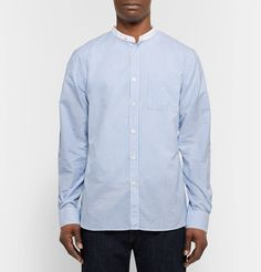 <a href='http://www.mrporter.com/mens/Designers/Todd_Snyder'>Todd Snyder</a>'s grandad-collar shirt is rendered in traditional blue and white Bengal stripes. Finished with polished mother-of-pearl buttons, it's made from a lightweight cotton and linen-blend and cut comfortably slim. Go for a high-low look with black jeans or stick with tailored trousers on smarter occasions.