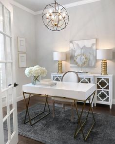 """"" White Home Office Ideas To Make Your Life Easier; home of… """" White Home Office Ideas To Make Your Life Easier; home office idea;Home Office Organization Tips; chic home office. Home Office Space, Home Office Desks, White Desk Home Office, Home Office Paint Ideas, Grey Office, Home Office Lighting, Hone Office Ideas, Home Office Furniture Ideas, Office Room Ideas"