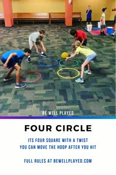 It's NEXT-LEVEL Four Square. Since your square is a hoop, you can move it after every hit. It's one of the many games I use in my Striking/Four Square Unit (the last game in the blog). #physed #recess #teaching #physicaleducation #elempe #secpe #gymgames #gymteacher #peteacher gym games P.E. #games