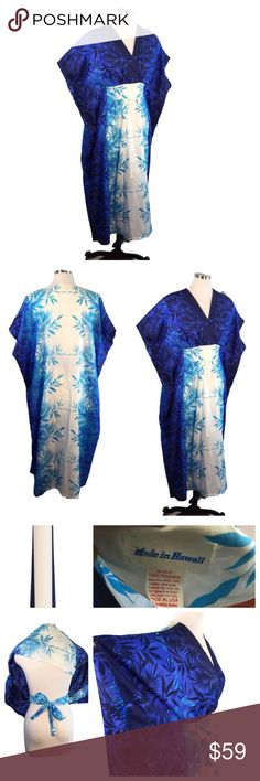 "Vtg Made in Hawaii Blue Ombre Kaftan Kimono to XL Made in Hawaii VOLUP ALERT! Vintage Kaftan Kimono Coverup dress (Could even be worn for maternity) Ombre Blue Palm Frond and White Verticle Panel.   Whisper Light Polyester Can be worn loose or with interior ties, tied at back to define the empire waist and bustline  Brand:  Made in Hawaii Condition: very good with no visible imperfections.   Garment measured flat Bust: 30"" Hips: 82"" Length:33-1/2"" Armhole Opening 10"" Interior Tie 26-1/2""…"