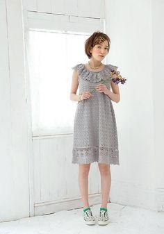 beauty silk cotyon ruffle dress - pattern by Pierrot (Gosyo Co., Ltd)