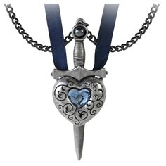 Alchemy Gothic Couples Necklace Love is King Sword Heart Necklace