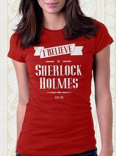 I Believe in Sherlock Holmes Tshirt 100% cotton shirt Men Women Kids Consulting Detective Geek Gift on Etsy, $15.95