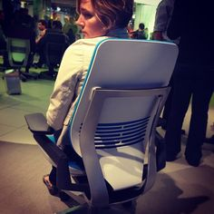 @mledncn modeling the new Gesture chair @steelcase #neocon13 #neoconography