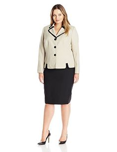 fc5e7aaf15ac Le Suit Womens Plus Size 3 Button Contrasted Collar Unmatched Skirt  KhakiBlack 24W * Continue to