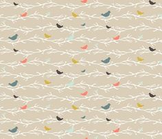 Coral Treetop Birds - mrshervi - Spoonflower
