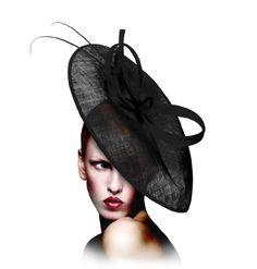 Kentucky Derby Hat Fascinator M26 Polka Dot Black/White Polka Dot Kentucky Derby sinamay profile fascinator with signature accent. (Polka dot is offered color. See 2nd image for color). Light-weight and secured on a headband.. Complimentary custom handled storage/travel hat box.. Also available in white, black and red. See Store.. Made in U.S.A..  #Mr._Song_Millinery #Apparel