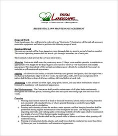 Best landscaping contract agreement samples and landscape for Monthly service contract template