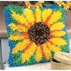 New Sunny Sunflower Latch Hook Rug Kit 12x12 Yarn Crafts Projects ...
