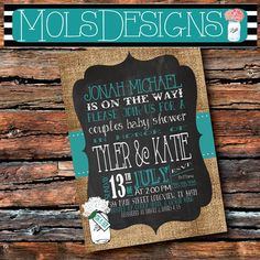 Any Color Couples BABY SHOWER Chalkboard Burlap Teal Mint Blue White Hydrangea Little Man Boy Girl Sip See Birthday Bbq Party Invitation