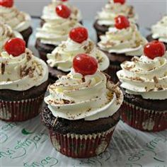 "Cherry Coke® Cupcakes | ""Cherry-flavored cola and cherry pie filling add a sweet flavor to chocolate cake mix in this easy cupcake recipe. Top with frosting and a maraschino cherry!"""