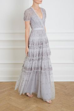 Layered Lace Gown in Dusk Blue from Needle & Thread Mob Dresses, Types Of Dresses, Fashion Dresses, Formal Dresses, Tulle Dress, Dress Up, Needle And Thread Dresses, Looks Plus Size, Boho Chic