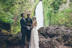 waterfall elopement: photography: Carl Zoch // location: Wahclella Falls, Oregon on the Columbia River Gorge // florist: Lucy's Informal Flowers // wedding dress: Sarah Seven // groom's suit: Joseph A. Bank