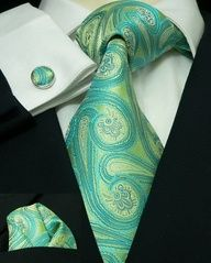 Paisley Wedding aqua and green tie for groom or groomsmen - Carl, is this what you meant? Sharp Dressed Man, Well Dressed Men, Paisley Wedding, Peacock Wedding, Yellow Wedding, Peacock Theme, Fashion Pants, Mens Fashion, Style Fashion