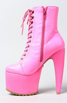 Jeffrey Campbell The Jeffrey Campbell x Human Aliens Go Go Boot in Neon Pink Leather
