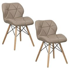 a65d01402923 Dining Chairs PU Leather Armless Wood Legs Accent Side Chair Kitchen Set of  2