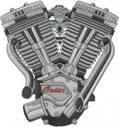 Text and Shapes Embroidery Design: Indian Motorcycle Engine_ from Machine Embroidery Designs